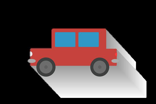 červené, hanaté autíčko