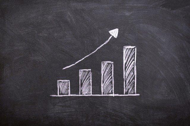 graf na černé tabuli vykazující postupný růst
